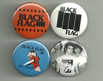6 Black Flag Button Pins