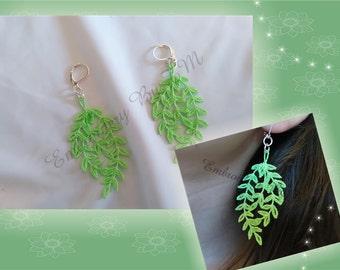 Earrings leaves lace-4x4 hoop-original lace design