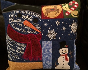 Christmas machine embroidered cushion\ throw pillow cover, handmade, approximately. 16in x 16in.