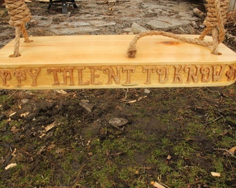 Hand Crafted Wooden Swing With Quote