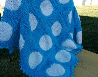 Teal and White Polka Dot Baby Blanket