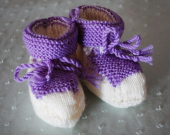Hand Knitted Purple and White Booties