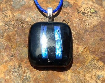 Dichroic Fused Glass Pendant, with blue strips, Handmade Necklace
