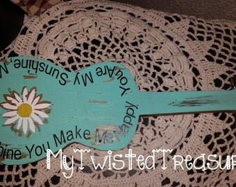 Rustic Handmade Distressed Mini Guitar You are my Sunshine