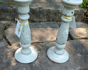 Pair of Distressed Wood Candle Sticks