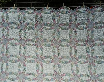 """Blue/Grey Floral Double Wedding Ring Quilt 93"""" x 82"""""""