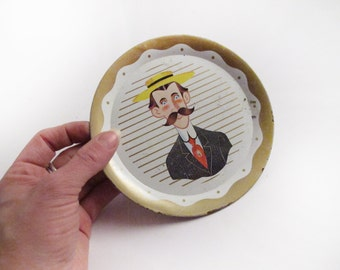 Mustache Man Tray 5 Inch Diameter Metal Tray Hipster Home Decor Hipster Wall Art