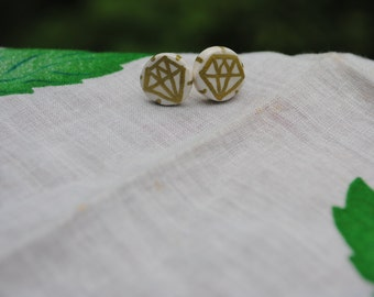 diamond clay stud earrings
