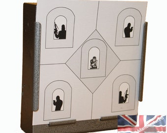 100 x Air Rifle Police Training House Target Design on Card 14 x 14cm