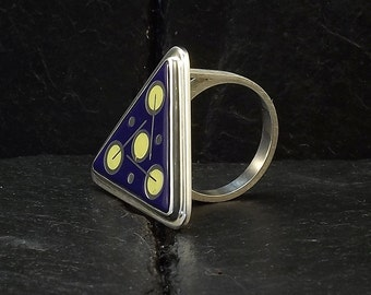 Cloisonne Enamel Ring - size 8 ring - floral design - cobalt blue ring - sterling silver ring - handmade ring - unique ring