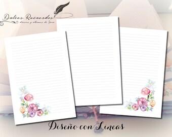Design flowers watercolor A5