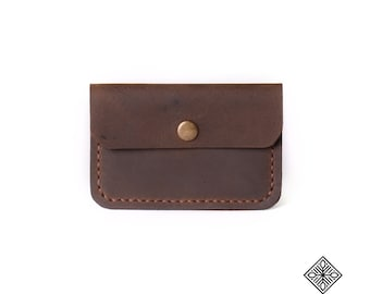 Leather Card Holder 705 - Brown Leather Card Wallet, Leather Business Card Case, Leather Credit Card Holder, Card Holder, Minimalist Wallet