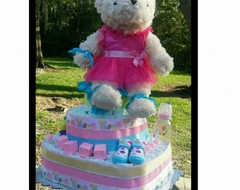Beary Pretty in Pink Diaper Cake