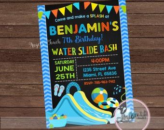 Water Slide Party Invitation, Waterslide Birthday Invitation, Waterslide Party Invitation, Boys Water Slide Invitation, Digital File