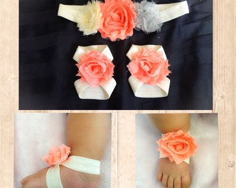 Baby Ribbon Sandals + Headband; CHOOSE YOUR COLORS