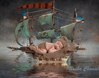 Digital backdrop background boy or girl boat blue vintage