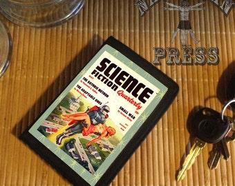 Rocket Pack Rescue, Vintage Pulp Science Fiction Magazine, Black TriFold Wallet
