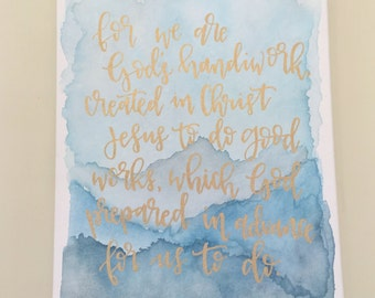 Watercolored & Handlettered Canvas