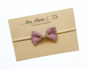 Dusty Rose Twill Bow