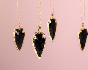 Black Arrowhead Necklace Agate Necklace Gold Raw Stone Necklace Raw Arrow Pendant Layered Necklace Boho Style