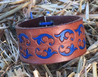 OOAK Upcycled Handpainted Leather Cuff