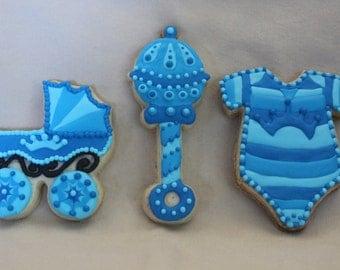 Baby Boy Shower Cookies - 1 Dozen