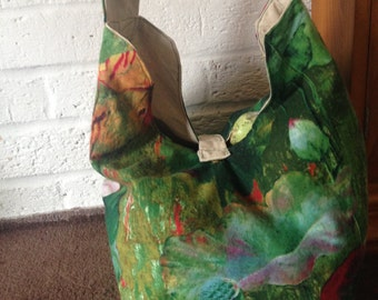 Romantic green tote, shopping, market bag
