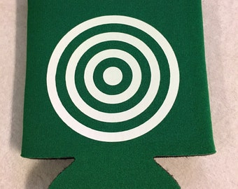Bulls eye beer can coozie