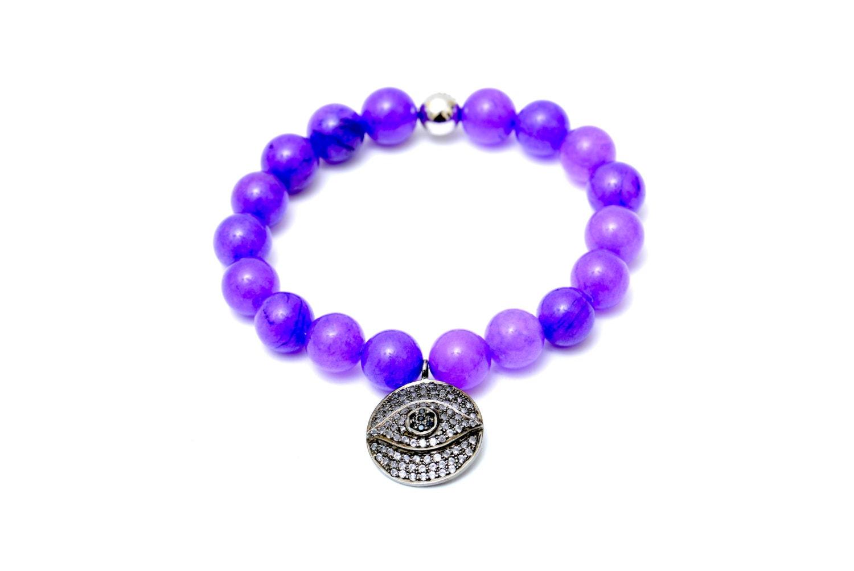 beaded bracelet jade bracelet sterling silver