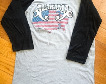 Rare, Authentic Vintage 'Alabama' Band Shirt, Mountain Music Tour, 1982, Excellent Condition, 80's concert, baseball shirt, country music