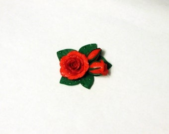 Brooch with a rose in dewdrops. Handmade jewerly. Jewerly with flowers.