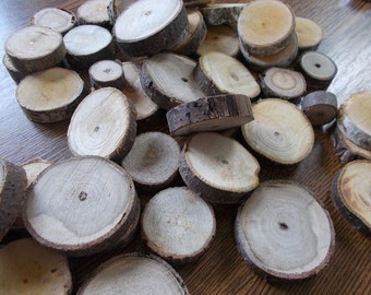 100 Small Wood Slices ~ 0.5 to 1.5 inch, Rustic Tree Branch Slices for Craft, Natural Wood Slices, mix of wood slices