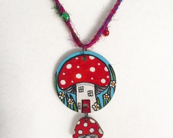 The Fairy House - Reversable Night & Day Toadstool House Necklace