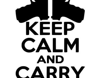 Keep Calm and Carry on Gun Decal