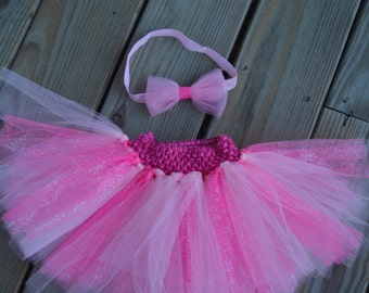 Light Pink and Sparkly Hot Pink Baby/Toddler Tutu