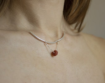 Sale 40% necklace arg925, cherry red Pearl, dainty necklace, Choker necklace of neck, made hand Base n4 ochre bead