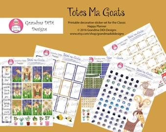 Totes Ma Goats Printable Sticker Set for Happy Planner Classic