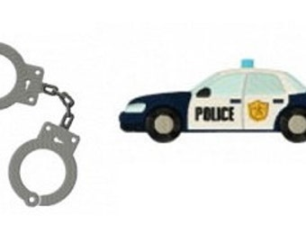 Bogo Free Embroidery Design, Buy 1 Take 1, Shackles and Police Car Embroidery Design, Instant Download, PES format