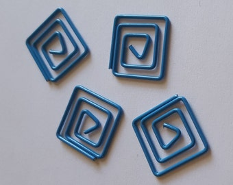 Squared Blue Spiral Clips for Planner