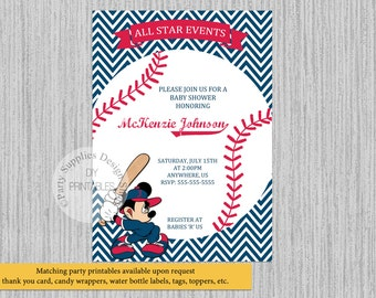printed or digital baseball mickey mouse baby shower invitations mickey party supplies baseball party