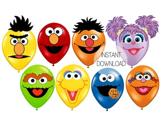 Sesame Street Printables for Balloons, INSTANT DOWNLOAD, Elmo Sesame Street Party Decorations, Elmo Birthday Balloons, Sesame Party Supplies