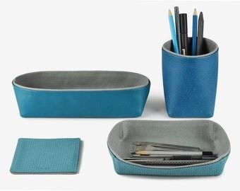 Desk Organization, Desk Organizer, Desk Set - Pencil Holder, Storage Box, Tray, Coaster, Set of 4 Items, Navy Blue