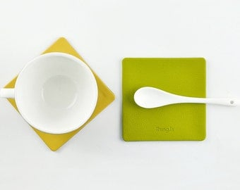 Coaster with Pattern, 9 Colors Available, Water Resistant, Yellow and Green Series, Drinkware Organization