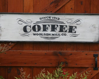 LARGE 3' Vintage Style Hand Painted COFFEE Framed Sign Reclaimed Barn Wood Wall Decor