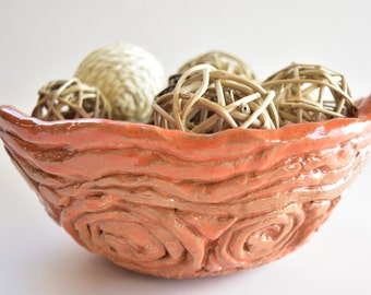 Peach Coiled Handmade Bowl