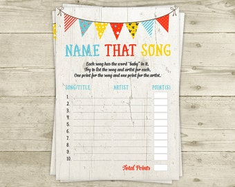 CoEd Baby Shower Game - Name that Song - INSTANT DOWNLOAD