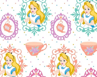 "Disney Fabric - Alice in Wonderland Fabric - Alice & Teacups 100% cotton fabric 44"" wide, SC216"