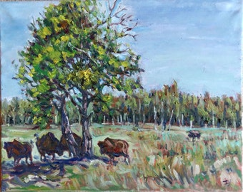"""Original Oil Painting, A Sunny Day- Canada BC landscape, 16""""x20"""", 1610141"""