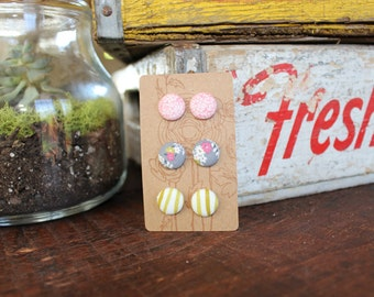 Fabric Button Earrings (set of 3)