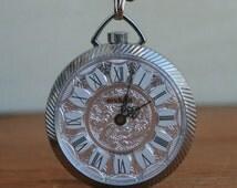 Vintage Swiss Made Endura Pocket Watch Silver Necklace. Watch Necklace with Chain. Vintage Watch Clock Necklace by tarnishedhalostudio